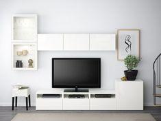 Mobile TV BESTÅ bianco con elemento audio/video a giorno e TV a ...