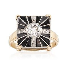 Ross-Simons - C. 1950 Vintage Black Onyx and .75 ct. t.w. Diamond Square Ring in 14kt Yellow Gold. Size 5 - #869329
