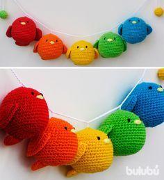 Guirnalda pajaritos a crochet, $225 en http://ofeliafeliz.com.ar