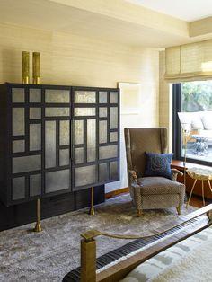 KELLY WEARSTLER | INTERIORS. Custom cabinet made from ebonized oak and brass. Master Bedroom. Blodgett Residence, New York