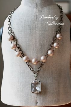 Pearl Necklace with Faceted Stone, Swarovski, Estate Style Necklace, Statement Necklace, Blush Necklace by PemberleyCollection on Etsy https://www.etsy.com/listing/54957530/pearl-necklace-with-faceted-stone