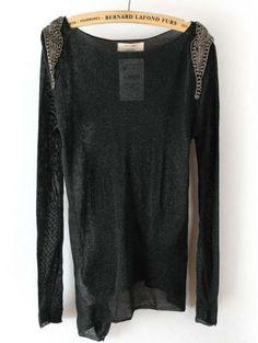 Black Long Sleeve Sheer Shoulder Beading T-Shirt