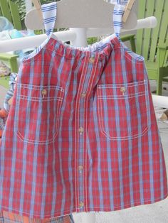 Red, white and blue size 1-2 toddler dress made from two shirts. $22 Daddy's Button Shirt. Repurposed men's shirts, recycled children's clothing, little girl's dress  etsy Sold at Great Day in the Country Oviedo, FL 11/11/17