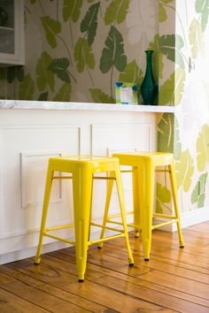 Yellow Molded Steel Stools: http://www.stylemepretty.com/living/2015/06/10/the-ultimate-bar-stool-roundup/