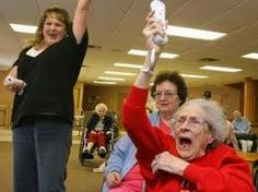 Old people playing wii