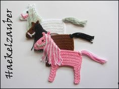 Baby Knitting Patterns Poncho Crochet patches – HORSE (free color choice) – a unique product by HC-Haekelz … Crochet Applique Patterns Free, Poncho Knitting Patterns, Crochet Motifs, Crochet Flower Patterns, Crochet Flowers, Crochet Poncho, Cute Crochet, Crochet For Kids, Crochet Crafts