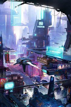 Cyberpunk Aesthetic, Cyberpunk City, Arte Cyberpunk, Futuristic City, Robot Concept Art, Environment Concept Art, Fantasy Art Landscapes, Fantasy Landscape, Fantasy City