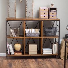 Townsend 6-Cube Bookcase - Add warehouse-district charm to your space with the endlessly versatile Belham Living Townsend 6-Cube Bookcase. This six-cube style horizontal shelvin...