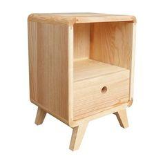 Table de chevet en bois de frêne avec tiroir Bulle