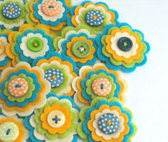 COOPER - 3 x Handmade Felt Flower Embellishments, Flower Appliques, Felt Embellishments, Felt Blooms, Felt Die Cuts, Set of 3