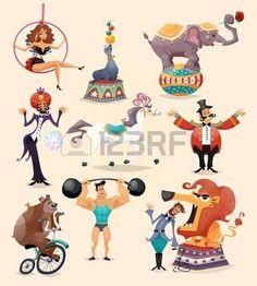 Iconos decorativos rendimiento Circo establecen con atleta animales ilustración vectorial mago.