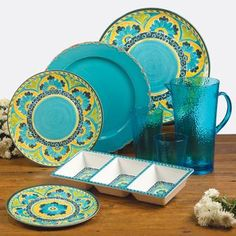 Certified Intl Mexican Tile Melamine Dinnerware & Glassware Set-Melamine Dinnerware-Home and Patio Decor Center Dinner Plate Sets, Dinner Plates, Melamine Dinnerware, Tableware, Dinnerware Sets, Acrylic Glassware, Mexican Designs, Patio Dining, Dining Room