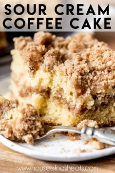 This scrumptious Sour Cream Coffee Cake has a ribbon of cinnamon streusel in the middle and even more of the cinnamon-sugar goodness on top! It's perfect for breakfast and brunch or even as a simple dessert with a scoop of vanilla ice cream! Best Coffee Cake Recipe, Cinnamon Streusel Coffee Cake, Sour Cream Coffee Cake, Coffee Cake Muffins, Cinnamon Cake, Cinnamon Desserts, Coffee Cream, Desserts With Sour Cream, Coffee Cale