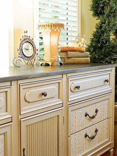 beautiful dresser redo | add wood accent under knobs and handles to dress up a boring dresser.