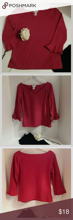 """Ann Taylor Loft Red shirt Red long sleeve (bell cuffs) jersey top with ruched detailing below shoulder. Cute. Mediium. Length: 23"""". Sleeves: 17.5"""". LOFT Tops Tees - Long Sleeve"""