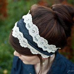 shabby chic Stretch denim and lace headband by GarlandsOfGrace, $20.00