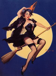 Bewitched! Vintage Halloween Pinup Girl