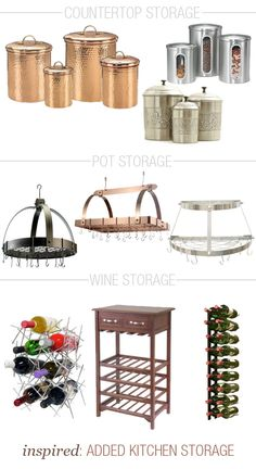 Helpful, hardworking storage is a must in the kitchen. A pot rack, wine rack, or countertop canisters are a good way to bring some extra (stylish!) storage to this space. Pot Storage, Storage Ideas, Organization Ideas, Extra Storage, Kitchen Layout, Kitchen Ideas, Kitchen Tools, Kitchen Storage Solutions, Country Kitchen