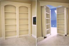 Secret double bookshelf doors swing inward to reveal hidden room - These work great together and don't make you immediately think there's possibly a door there.