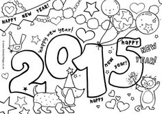 2015 coloring page - perfect for enlarging to 11x17 size and then having the students paint it with water colors