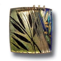 Carolyn Delzoppo - Brooch – Rainforest 2007 36mm x 36mm Stg and fine silver, cloisonné enamel From a series of three brooches about rainforests and the wet season.