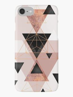 Abstract geometric triangle design in pink blush, black and rose gold. • Also buy this artwork on phone cases, apparel, stickers, and more.