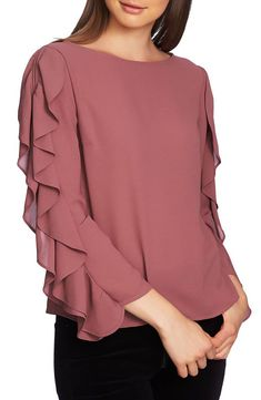 cinq a sept Gisele Floral Ruffle Blouson-Sleeve Top - Buy Designer Ruffle Slit Sleeve Top. Find the lowest price on SALE. Kurti Sleeves Design, Sleeves Designs For Dresses, Sleeve Designs, Kurta Designs, Blouse Designs, Abaya Fashion, Fashion Dresses, Women's Fashion, Abaya Mode