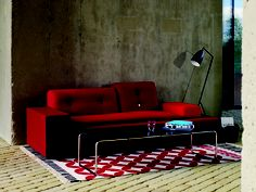 Lounge - get it right and everything else falls into place.  Featuring Vitra XS Polder Sofa, Knoll Laccio Low Table, Gubi Gräshoppa Floor Light, GAN Kilim Catania Rug, Muuto Restore Storage Basket