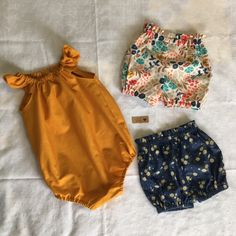 Birthday Present for 1 year old. Tadah Patterns - Seaside Playsuit & Flexi Paperbag Waist Shorts combo! Love mustard!!!!