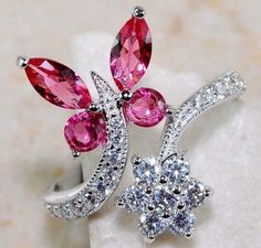 Ruby & White Topaz Genuine 925 Solid Sterling Silver Ring for sale online Butterfly Jewelry, White Topaz, Other Accessories, Necklace Set, Jewerly, Sterling Silver Rings, Swarovski Crystals, Diamond Earrings, Fine Jewelry