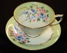 AYNSLEY ENGLAND PASTEL SPRING BOUQUET GREEN  TEA CUP AND SAUCER