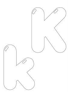Molde de letras para mural. Letra K, k.