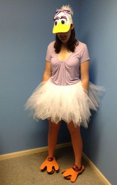 Easy duck constume. Look at how the tutu skirt was made especially. Adult or child, this costume works just as well.