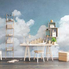 Wandbild Wolken, Vliestapete, B 360 x H 270 cm – Møbla