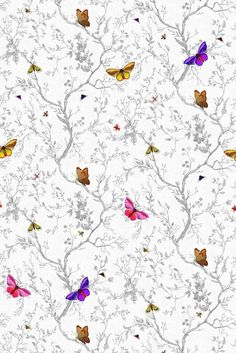 Buy Timorous Beasties Butterflies Wallpaper Online From Occa-Home Kid Friendly Wallpaper, Kids Room Wallpaper, Wallpaper Ideas, Hd Wallpaper Android, Wallpaper Online, Timorous Beasties, Butterfly Wallpaper, Butterfly Background, Duck Egg Blue