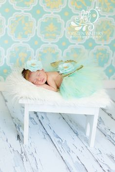 baby headband butterfly wings set girls newborn photo prop tutu aqua and gold ready to ship quickly complete set
