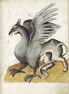 Scene, about Griffins -- Standing griffin. Morgan Library, New York Griffon, gryphon #Mythical #Fantasy #Creature mythological chimera,chimera