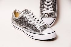 6bcd5b6a13e9 Adorned with shiny silver sequins. Perfect for anyone who loves Chucks and  very shiny things!
