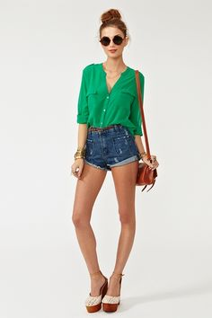 Love this green blouse...