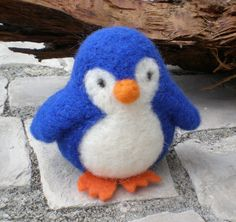 royal blue Penguin needle felted OOAK made to order by mirtilio, $15.00
