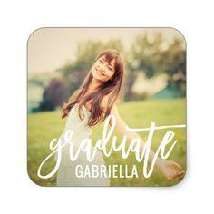 Shop Graduate Photo with Monogram Diy Stickers, Custom Stickers, Graduation Stickers, Graduation Announcements, Script, Activities For Kids, Diy Projects, Monogram, Make It Yourself