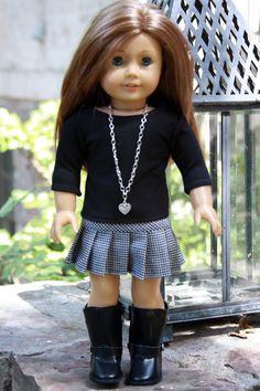 American Girl Doll Handmade Houndstooth Pleated Skirt and Black Tee American Girl Doll Back to School Outfit American Girl Outfits, Ropa American Girl, American Girl Dress, American Girl Crafts, American Doll Clothes, American Dolls, Sewing Doll Clothes, Girl Doll Clothes, Girl Dolls