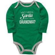 "Every baby clothes quilt needs the obligatory ""Who needs santa when you have grandma?"" onesie! #cartersholiday"