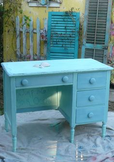Kids desk- but in white with black trim and teal flowers...or damask stencil...black chalk top...all over damask