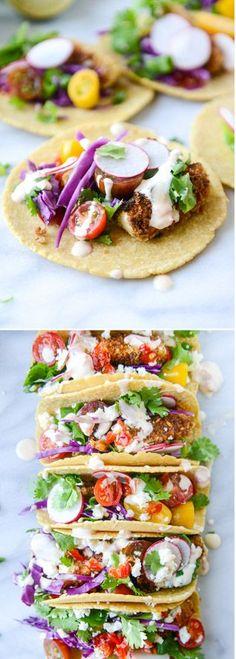 Crispy Zucchini Veggie Tacos I howsweeteats.com