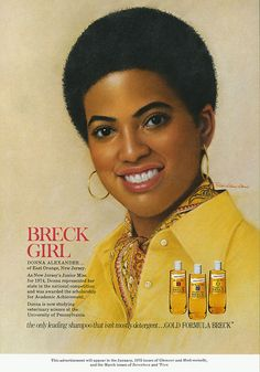 Vintage Hair Donna Alexander, first African-American Breck Girl ca. 1975 - Description: Donna Alexander, first African-American Breck Girl Location: National Museum of American History Archives Center Coll. Breck Shampoo, Vintage Advertisements, Vintage Ads, Vintage Posters, Vintage Photos, Black History Facts, My Black Is Beautiful, Beautiful Women, African Diaspora
