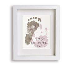 First Birthday Art Print - Personalized Hand and Foot Prints - 5x7 - Personalized Decor, Children Decor, Keepsake, Footprint, Handprint