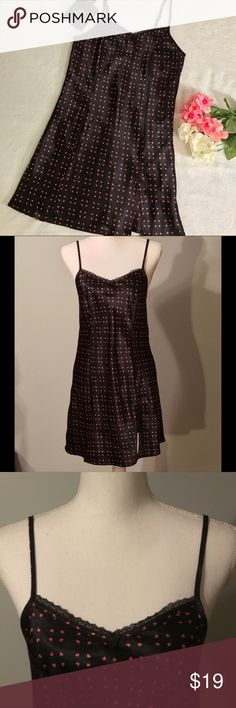 """Apt. 9 heart print chemise Apt. 9 heart print chemise. Black nightie with all over small heart print. Small side slit. Lace trimmed v neckline. Adjustable spaghetti straps. Silky, soft, shiny material. Size small. EUC, excellent used condition. Measurements taken laid flat. 16 ½"""" bust, 33 ½"""" length. Apt. 9 Intimates & Sleepwear Chemises & Slips"""