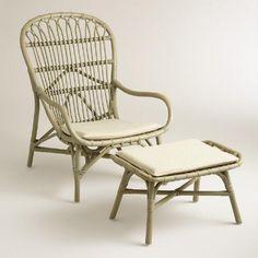 Gray Rattan Wingback Chair and Ottoman