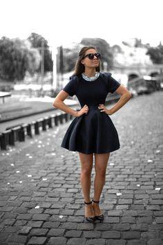 retro chic navy dress